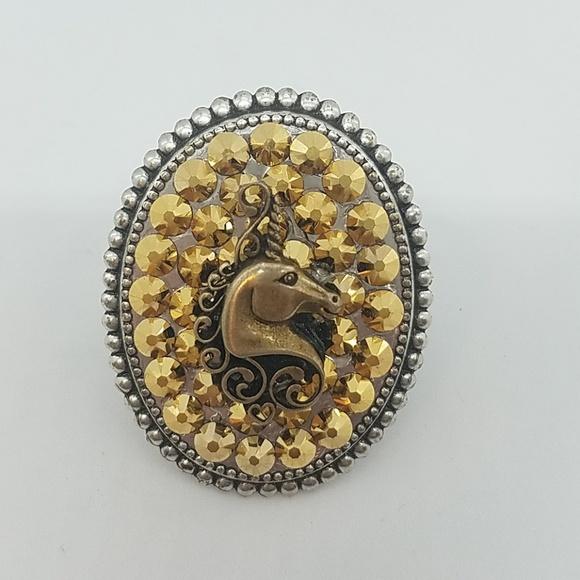 GASOLINE GLAMOUR Jewelry - Unicorn rhinestone Swarovski charm ring smaple